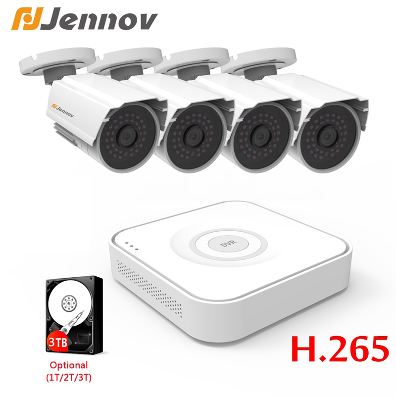 Jennov 1080P 4ch Home Security DVR IR-Cut Kameras Video Überwachung System CCTV Außen AHD Sicherheit Audio Kit p2P NVR Outdoor