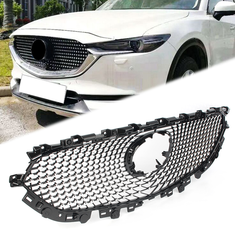 Auto Front Bumper Grill Black Grille <font><b>For</b></font> 2017 <font><b>2018</b></font> 2019 <font><b>Mazda</b></font> <font><b>CX</b></font>-<font><b>5</b></font> CX5 ABS Plastic Car <font><b>Accessories</b></font> image