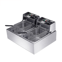 BS-82 Commercial Fryer Thick Stainless Steel Multi-function Snack Fried Chicken Double-cylinder Electric Fryer