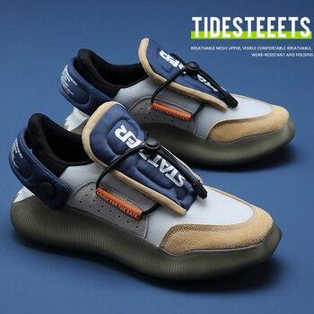 Zapatillas de deporte informales antideslizantes para hombre, calzado de Tenis con plataforma de cuero de malla transpirable, novedad de verano de 2021 1