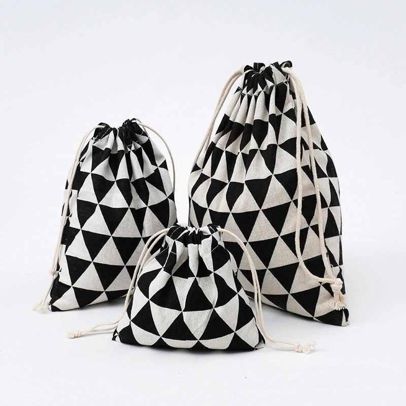 Cotone Con Coulisse Retro Riutilizzabile Pieghevole Delle Donne di Shopping Bag Moda Eco Della Spesa Panno della Biancheria Intima Del Sacchetto Borsa Da Viaggio di Stoccaggio Casa