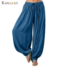 KANCOOLD Pants Women Plus Size Solid Color Casual Loose Harem