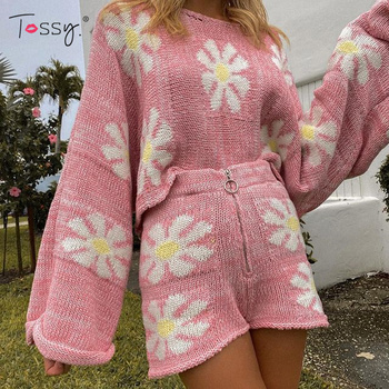 Tossy Knitted Women's 2 Piece Sets Outfits Casual Pink Floral Sweet Oversized Sweater Suit With Shorts For Women 2021 Tracksuit 1