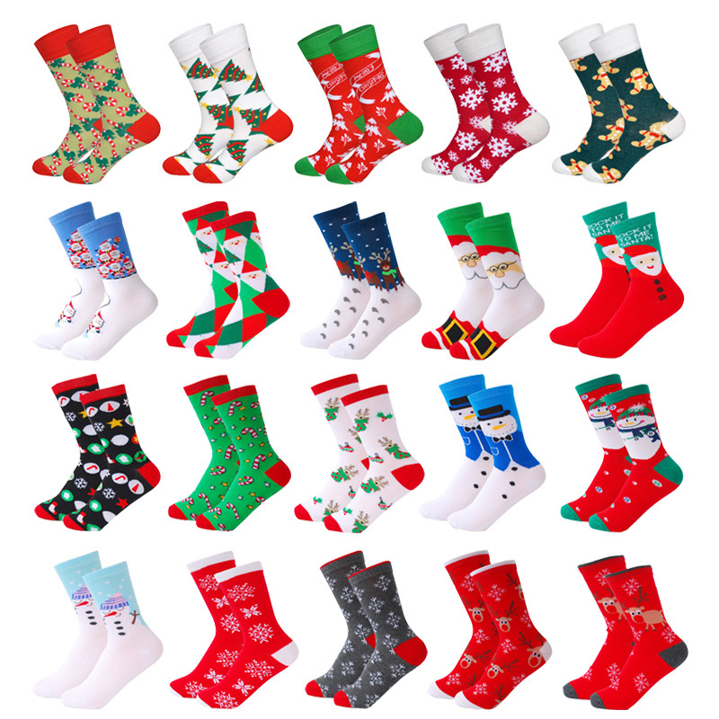 Cotton Christmas   Socks   Women &Men New 2019 Autumn Winter New Year Santa Claus Christmas Tree Snow Elk Gift Happy   Socks