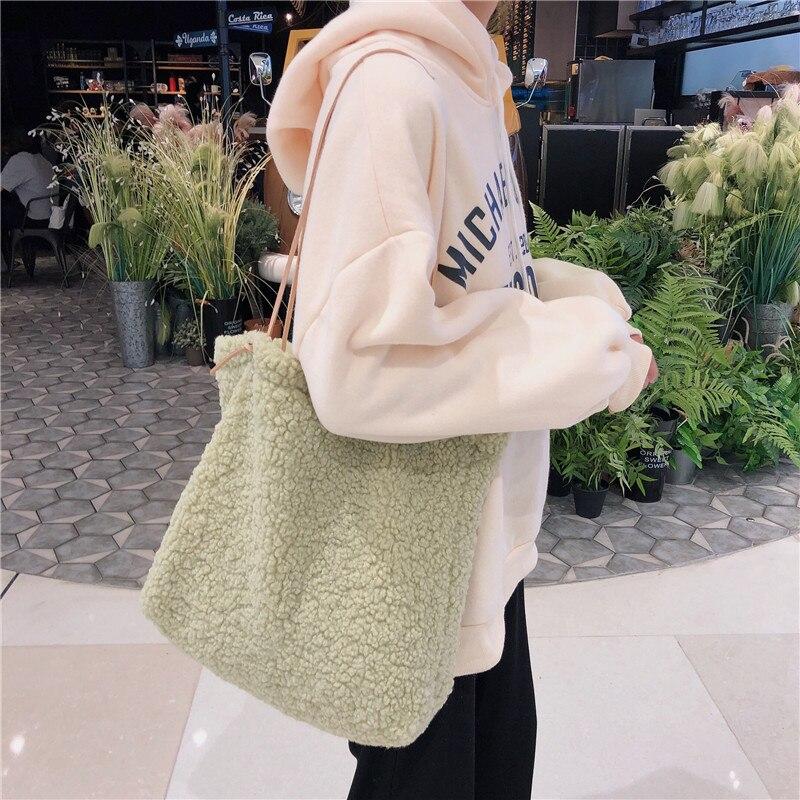 2020 New Japanese Style Plush Women Shoulder Bag Cute Soft Female Handbags Fruit Green Lovely Lady Tote Bags Open Shopping Bag