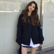 Women Casual Winter Hooded Sweatshirt Cardigan Cute Embroidered Plus Velvet Loose Hoody Autumn Jacket Coat #25 недорого