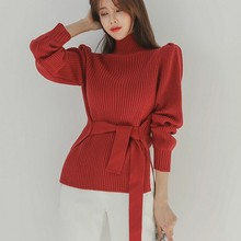 Autumn Womens Sweater Solid Color Pullover Women Fahion Commuting Turtleneck with Belt Winter Clothes