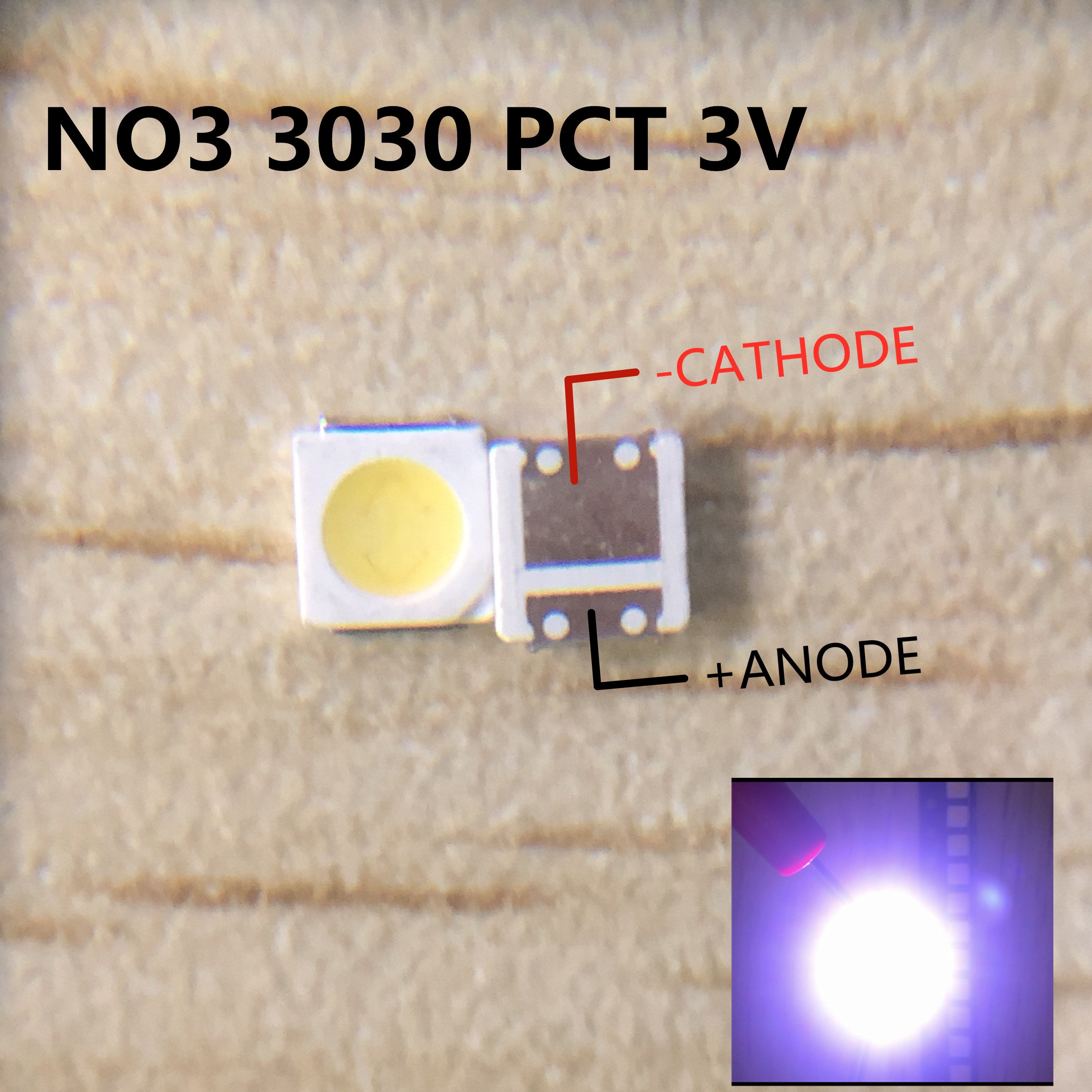 Светодиодный светильник lextar, 200 шт., 1 Вт, 3030, 3 в, холодный белый, 80-90 лм