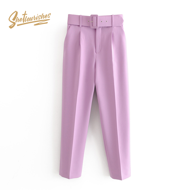 Sheflourishes Womens High Waist Trousers Pants With Belt Zoravicky Lavender Straight Office Lady Suit Pants Purple Capris SFF1d