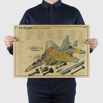AIMEER Classic fighter series McDonnell Douglas F-15 Eagle nostalgic retro kraft paper poster decor painting wall sticker51*36cm image