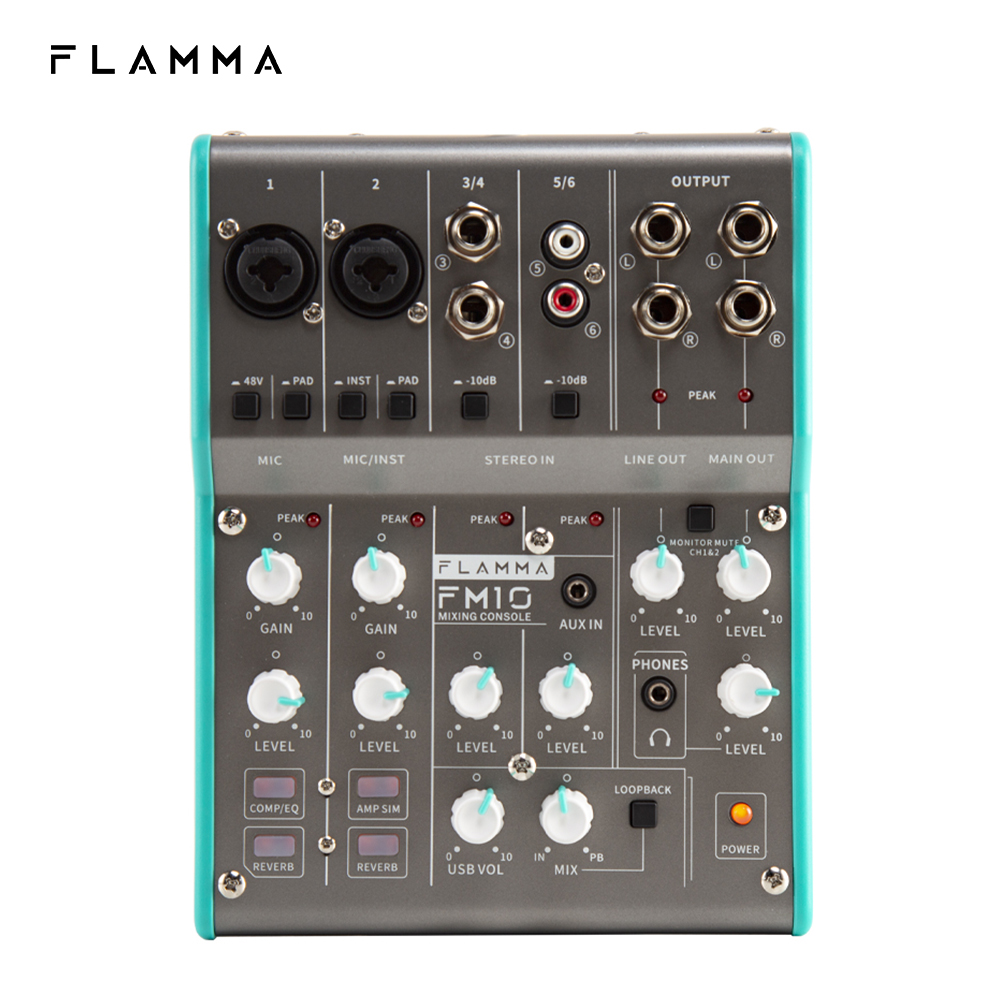 FLAMMA FM10 Digital Audio Mixer 6 Channel Mixing Console Sound Card USB Interface 48V Phantom Power for PC Recording Live Stream