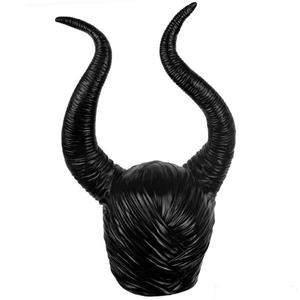 Image 4 - cosplay Maleficent  Helmet Halloween Cosplay Maleficent Witch Horns Hat Head wear Mask Headgear Helmet Party Black Queen