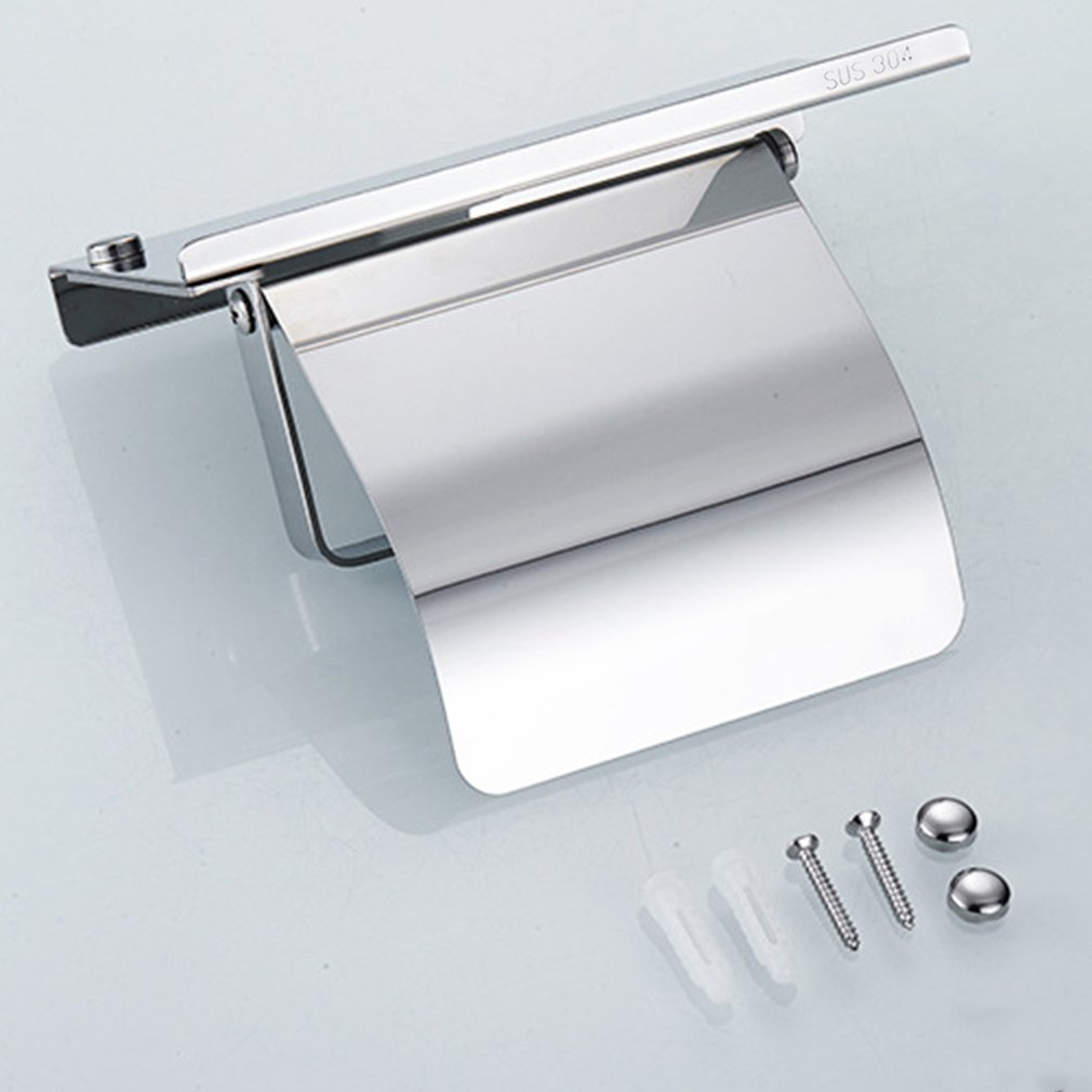 Stainless Steel Anti-rust Tissue Holder Wall Mounted Hanging Rack Roll Paper Towel Holder Bathroom Toilet Home Supplies