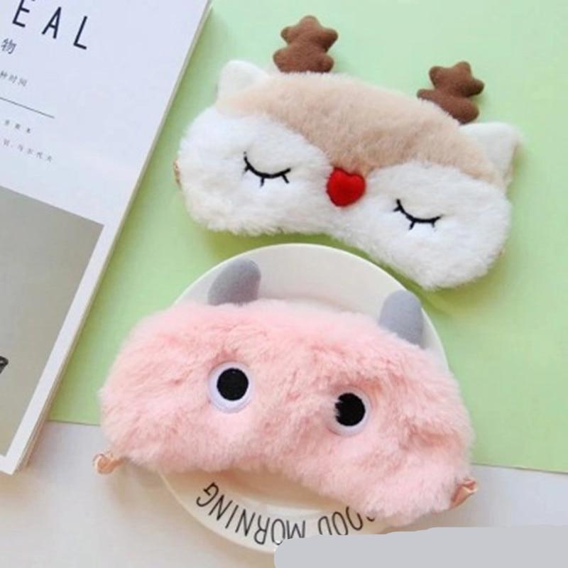 2020 Animal Eyepatch Eye Cover Plush Sleeping Mask Bandage Blindfold Christmas Winter Cartoon Nap Elk Eye Shade Sleeping Mask