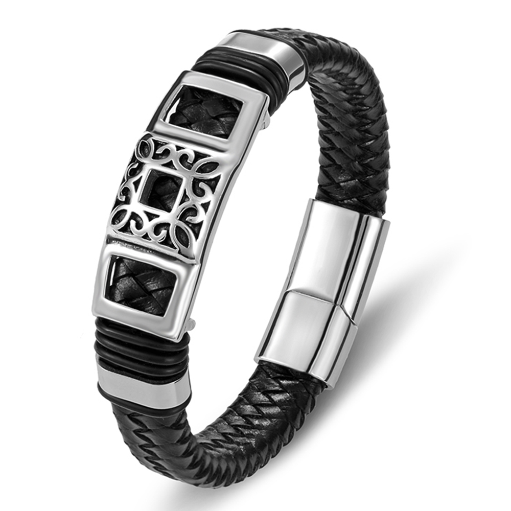 Couples Fashion Charm Rope Wholesale Black Genuine Leather Bracelet Men Jewelry Stainless Steel Magnetic Accessories