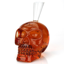 1100 ml punk style skull shaped large whiskey decanter lead-free glass home bar whiskey bottle for Liquor Scotch Bourbon 1223-03