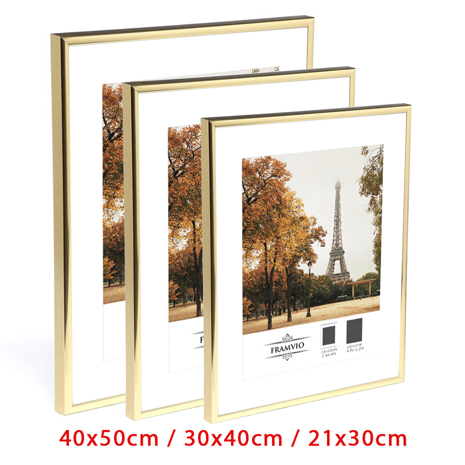 Настенная фоторамка, золотые металлические рамки для картин с ковриком, оргстекло A4 40x50 30x40 см, постер, сертификат, холст, живопись, домашний ...