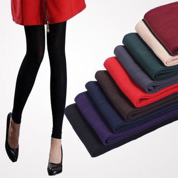 Autumn and Winter Leggings Black Grey Coffee Purple Green Burgundy Red Navy Blue Nude Color Women Leggings Warm Slim Fit Legging image