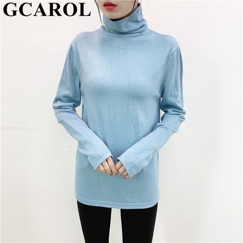 GCAROL New Turtleneck Solid Sweater Stretch Casual Basic Undershirt Render Unlined Upper Garment Fall Spring Thin Knit Pullover