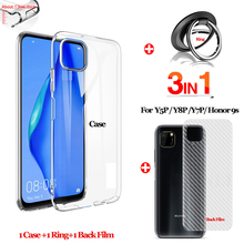 1pcs 200m clear pe protect film tape tablet electronics display windows housing case electrostatic protective film metal Clear phone case for huawei Y8P Y5P back film full cover Metal Finger ring Y7P Y6P Silicone TPU protective case honor 9S DUA-LX9