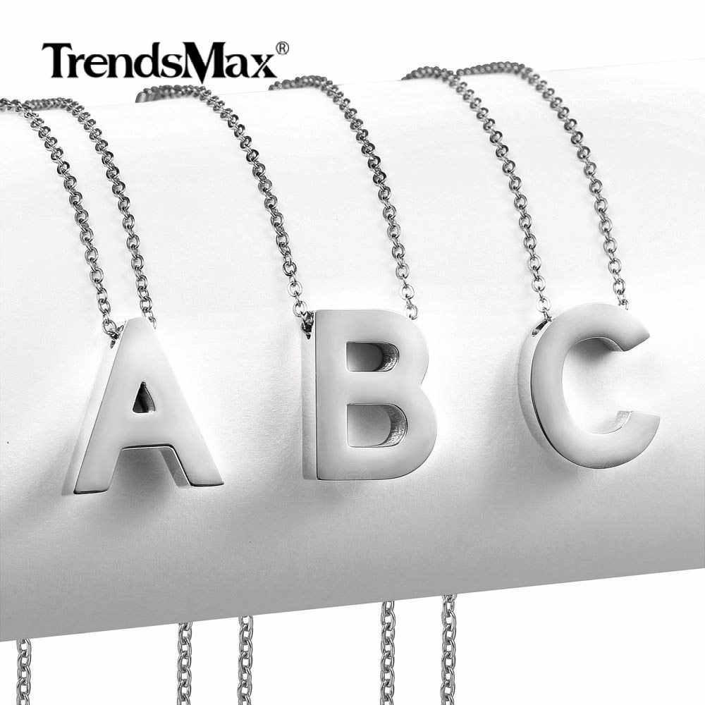Silver Color Fashion 26 Letter Necklaces Slide Pendants alphabet Women Men Stainless Steel Wholesale Letter Necklace KPM149