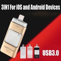 3in1 128GB 64GB 32GB 16GB 8GB 금속 USB 3.0 OTG iFlash 드라이브 HD 256GB USB 플래시 드라이브 아이폰 아이패드 및 안드로이드 전화용