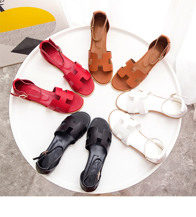 Fairy-Sandals Women Summer Open-Toe-Buckle Shaped New for Simple Versatile Flat-Bottom