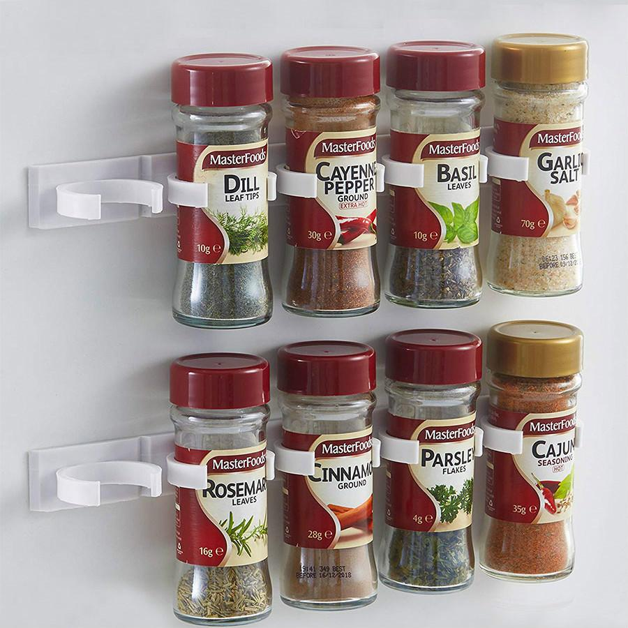 4 Pcs Flasche Rack Küche Lagerung Rack Wand Halterung Gläser Spice Halter Werkzeuge Kunststoff Clip Rack Schrank Tür Haken Zutat gewürz