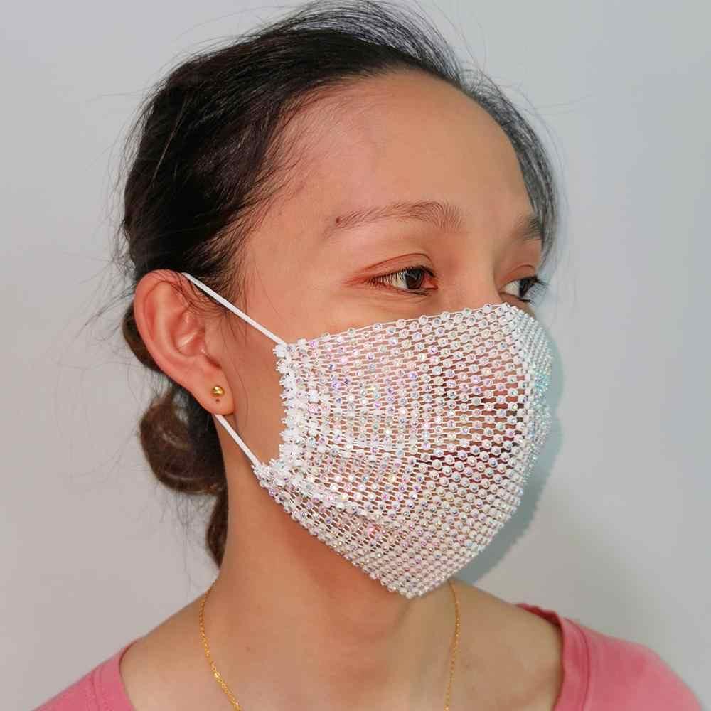 마닐라 패션 블링 라인 스톤 섹시 파티 마스크 Facemask 커버 쥬얼리 여성용 탄성 페이스 쥬얼리 베일 마스 카 소녀 2020