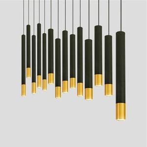 Image 2 - Montowane na powierzchni lampa wisząca Tube wisiorek światło nowoczesne kreatywne czarne złoto długi Bar restauracja kawiarnia biuro wisiorek światło