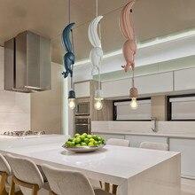 Светодиодный подвесной светильник в форме белки в скандинавском стиле, креативный подвесной светильник для столовой, гостиной, детской комнаты, розовый, синий, белый, E27
