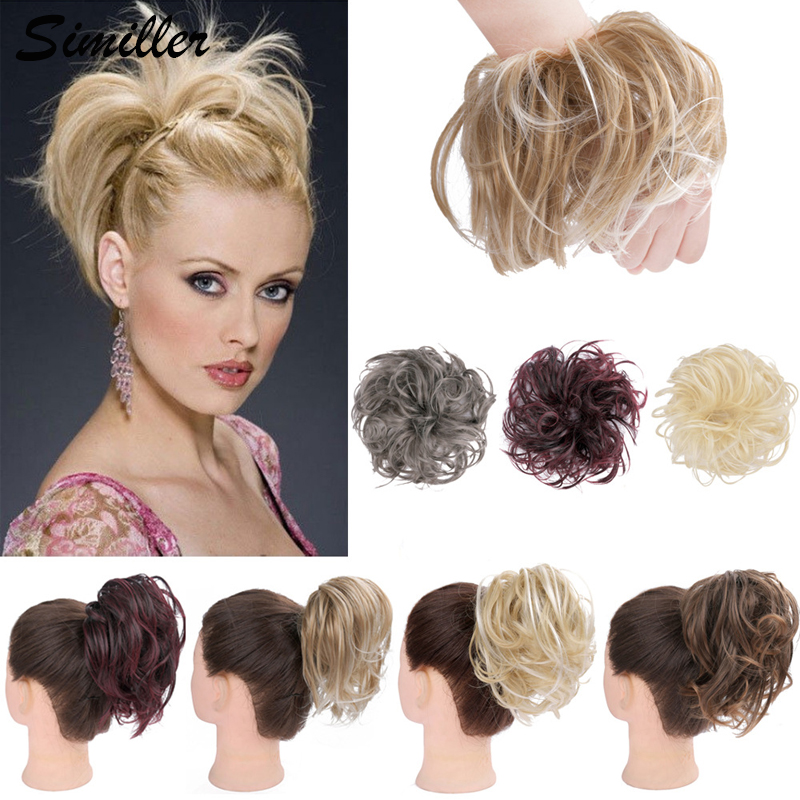 Similler Fluffy Tousled Updo Hair Bun Synthetic Messy Hair Bun Extensions Elastic Hairpiece Rubber Band Curly Chignon For Women