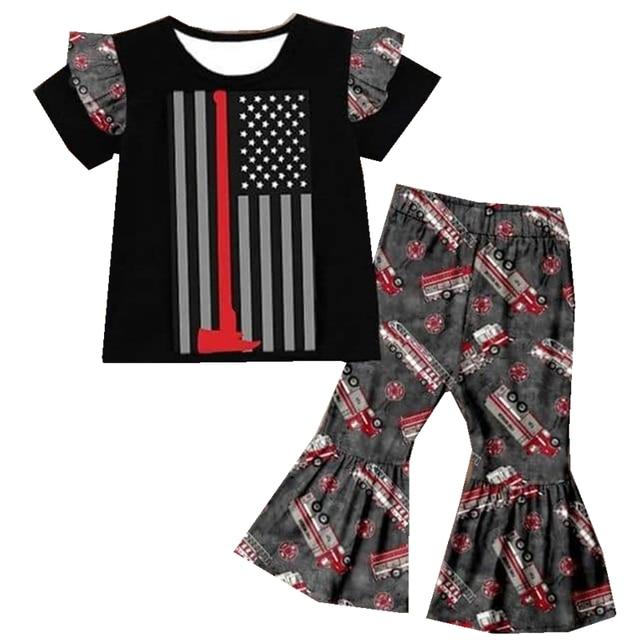 بوتيك موضة ملابس الأطفال بالجملة تصميم ملابس الأطفال الأحمر سيارة مطافئ دعوى فتاة