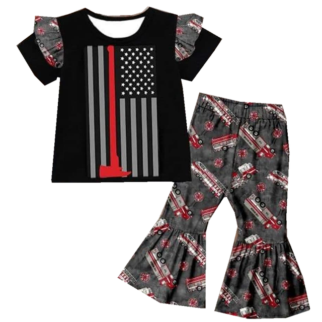 boutique fashion childrens clothing wholesale design childrens clothing red fire truck suit girl