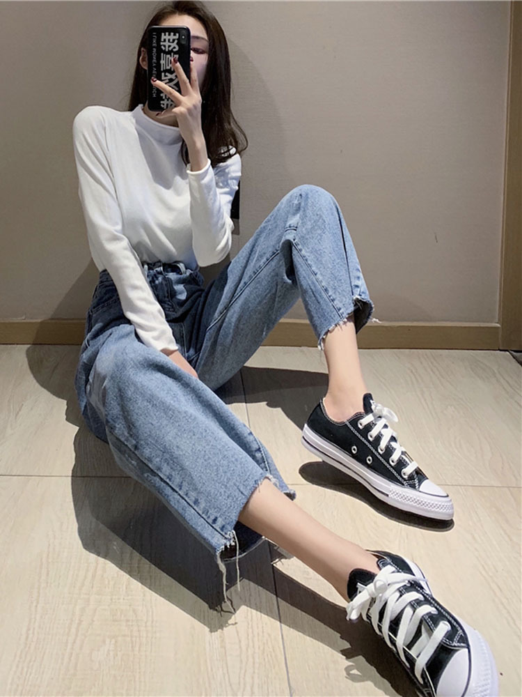 Suitable Thigh Root Thick Pants WOMEN'S Dress Spring 2019 New Style Jeans Students High-waisted Loose Pants Loose-Fit Fashion