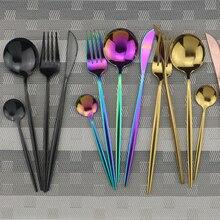 4 шт черный набор посуды 18/10 столовые приборы из нержавеющей стали Радужный набор посуды нож вилка ложка набор серебряных изделий набор столовой посуды для кухни