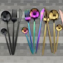 4 قطعة مجموعة أواني الطعام السوداء 18/10 الفولاذ المقاوم للصدأ السكاكين Rainbow عشاء مجموعة سكاكين شوكة ملعقة الفضيات مجموعة المطبخ مجموعة أدوات المائدة