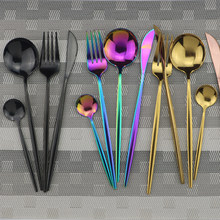 4 stücke Schwarz Geschirr Set 18/10 Edelstahl Besteck Regenbogen Abendessen Set Messer Gabel Löffel Besteck Set Küche Geschirr Set(China)