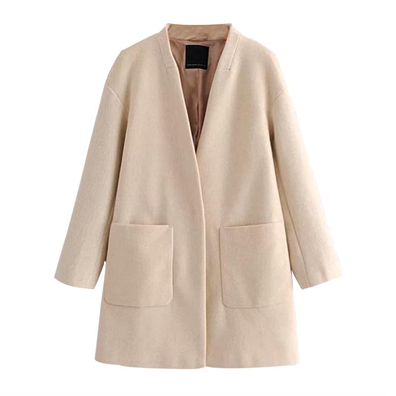 WXWT Women's Jacket Coat 2019 New Autumn And Winter Woolen Coat Fashion Elegant Wild Women's V-neck Cardigan Jacket Parkas