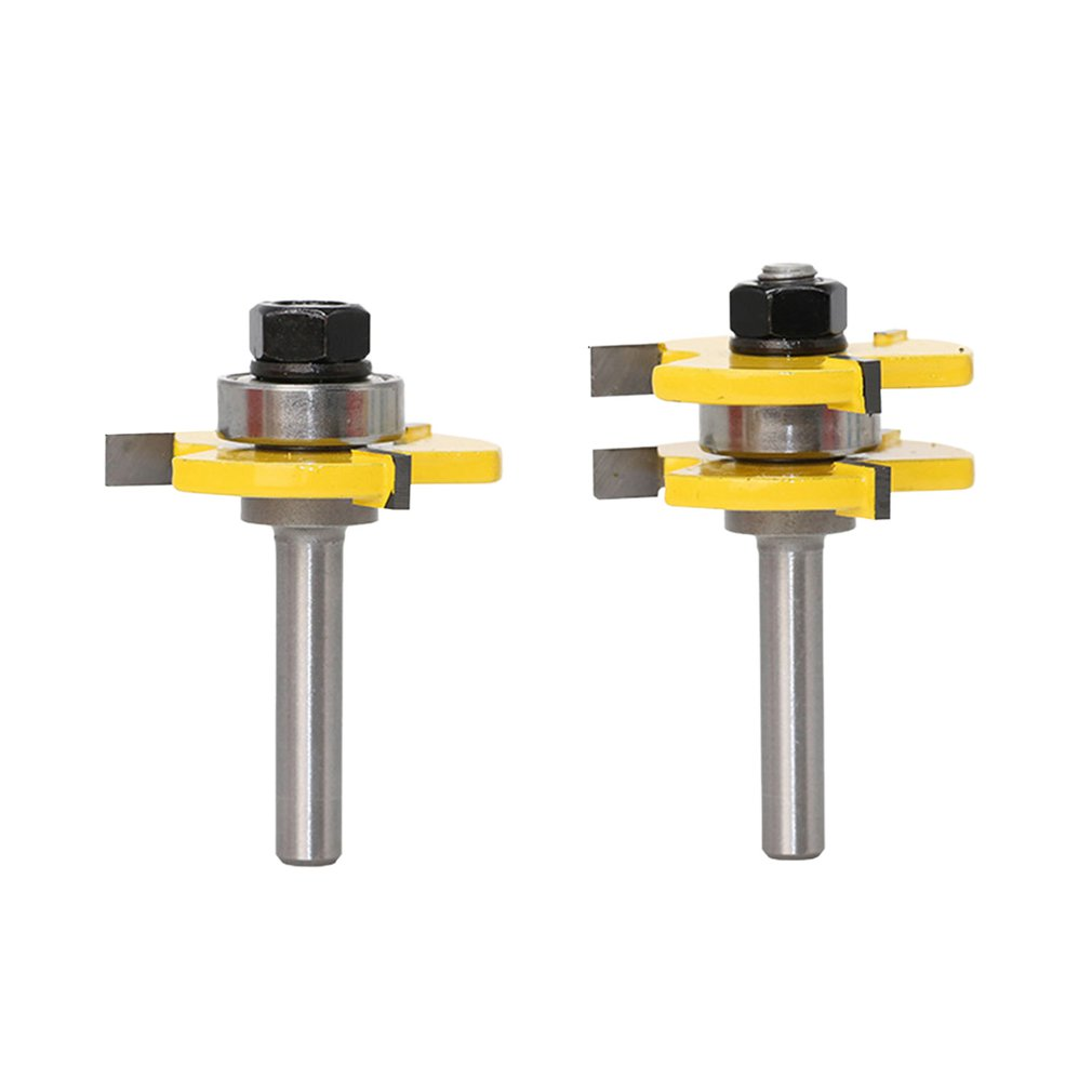 2pcs 8MM Shank Tongue & Groove Joint Assembly Router Bit Set High Quality  Woodworking Cutter Tool T-type Milling Cutter