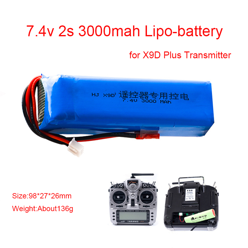 Upgrade 2S <font><b>3000mAh</b></font> <font><b>7.4V</b></font> Rechargeable <font><b>Lipo</b></font> <font><b>Battery</b></font> for Frsky Taranis X9D Plus Transmitter 2S <font><b>Lipo</b></font> <font><b>Battery</b></font> Charger Toy Accessories image