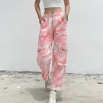 NCLAGEN Women Tie-dyed Jeans  Fashionable Burrs Zipper High Waist Straight Pants Ankle-length Cargo Casual Trousers