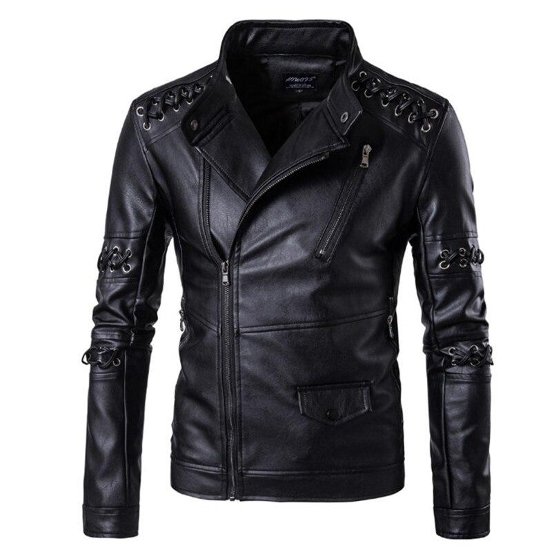 Novo design bonito dos homens jaquetas de couro europa e américa trançado corda motocicleta jaqueta de couro masculino casaco