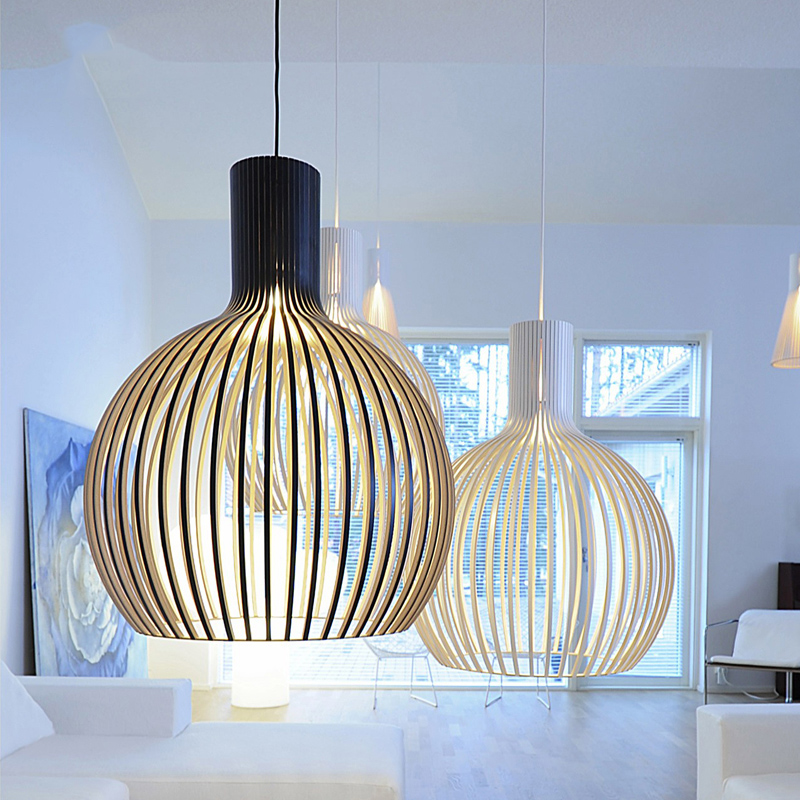 Nordic Wood Birdcage Pendant Light E27 Bulb Modern Home Deco Bamboo Dinning Room Lights Lampara Kitchen Lights Hanging Fixtures
