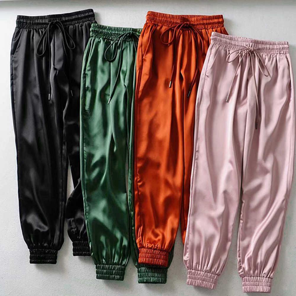 2019 autunno Inverno Nero di raso pantaloni delle donne dei pantaloni a vita alta pantaloni della tuta pantaloni di raso verde pantaloni delle donne pantaloni della tuta