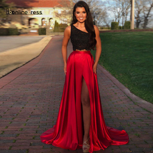 2020 New Listing Two Piece Prom Dresses A-Line One-Shoulder Split Prom Dress Floor Length Formal Party Gown vestido-de-festa two tone oblique shoulder split dress