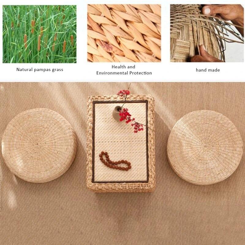40cm Round Stool Tatami Cushion Floor Cushion Straw Meditation Soft Yoga Mat DE