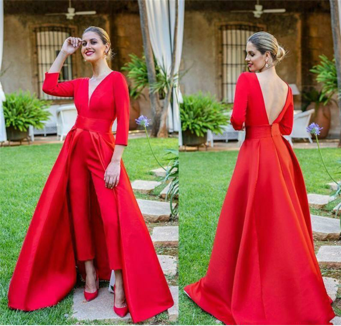 2020 Hot Red Prom   Dresses   Long Sleev Prom Gowns Custom Jumpsuits Women Formal   Evening     Dresses   Floor-length