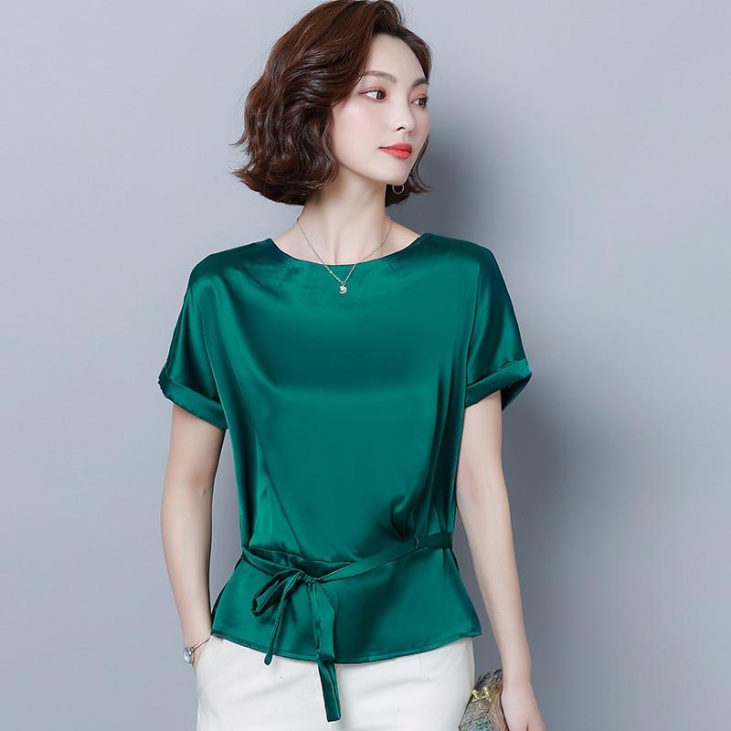 Korean Silk Blouses Women Satin Tops Plus Size Woman Solid Blouses Shirts 3XL/4XL Blusas Femininas Elegante Women Blouses Summer