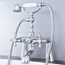 Deck Mounted Polished Chrome Double Handle Bathroom Bathtub Faucet with Handheld Spray Shower Hot and Cold Water ztf771 widespread polished chrome shower faucet single handle with handheld bathroom shower set wall mounted